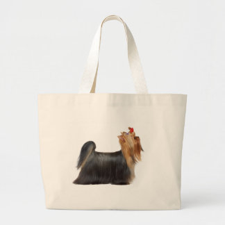 Dog in show large tote bag