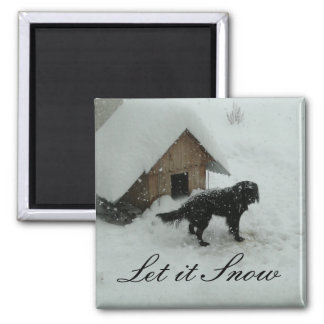 Dog in Snow by Doghouse 2 Inch Square Magnet