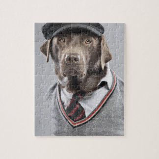Dog in sweater and cap jigsaw puzzle
