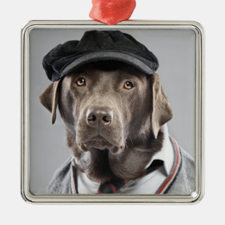Dog in sweater and cap metal ornament