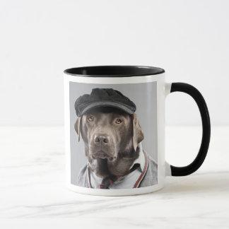 Dog in sweater and cap mug