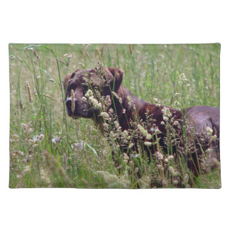 Dog in Tall Grass Cloth Placemat