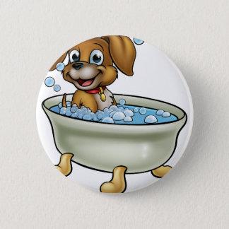 Dog in the Bath Cartoon Pinback Button