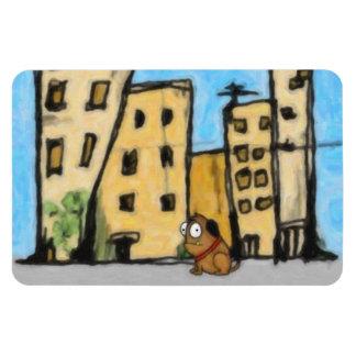 Dog in the City Rectangular Magnet