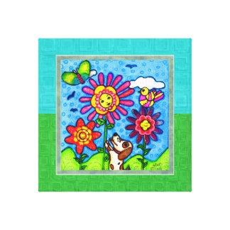 Dog In The Garden Gallery Wrapped Canvas Print