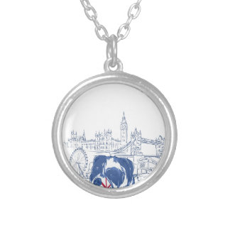 dog in the united kingdom silver plated necklace