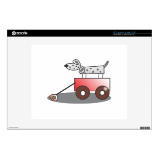 Dog in Wagon Decal For Laptop