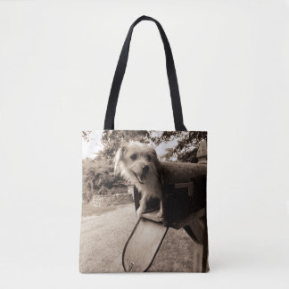 Dog Inside a Mailbox Tote Bag