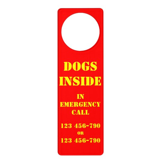 DOG INSIDE in EMERGENCY PHONE NUMBERS Door Hanger