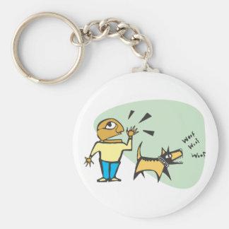 dog is barking basic round button keychain