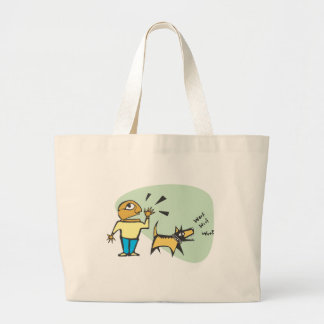 dog is barking large tote bag