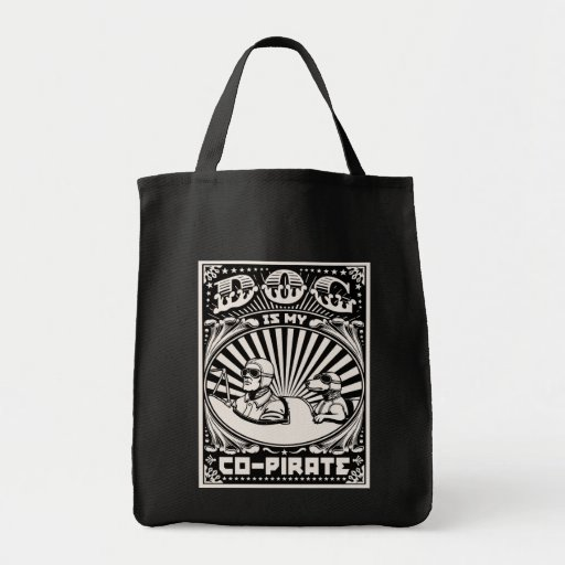 Dog is My Co-Pirate Canvas Bags