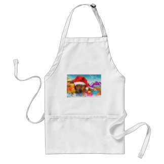 Dog is waiting for Christmas Adult Apron