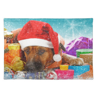 Dog is waiting for Christmas Cloth Placemat