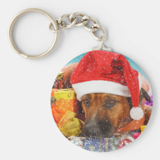 Dog is waiting for Christmas Key Chain