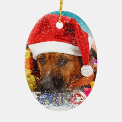 Dog is waiting for Christmas Double-Sided Oval Ceramic Christmas Ornament