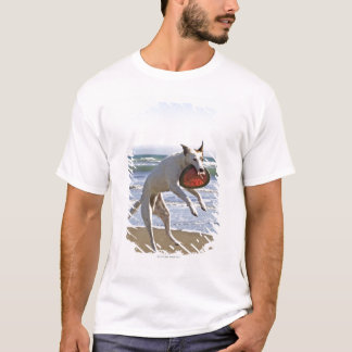 Dog jumping to catch a frisbee on beach T-Shirt