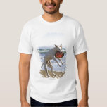 Dog jumping to catch a frisbee on beach tshirt