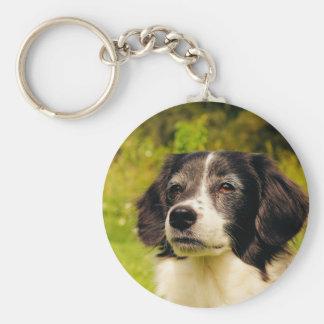 Dog Basic Round Button Keychain