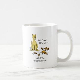 Dog killed the stuffed bear. coffee mug