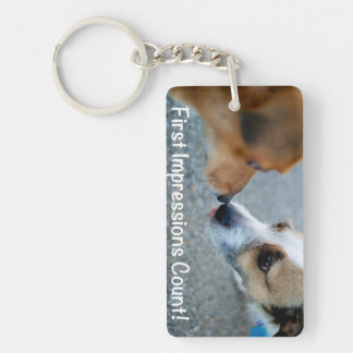 Dog kiss - first impressions count! keychain