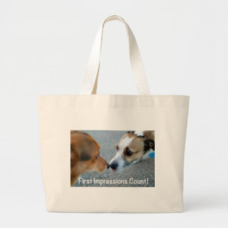 Dog kiss - first impressions count! large tote bag