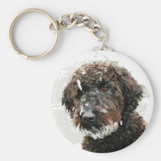 Dog: labradoodle painting keychain