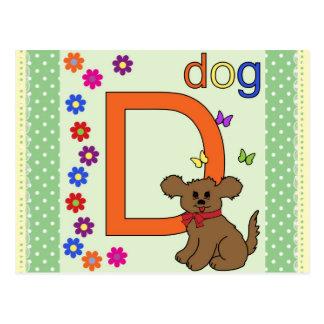 Dog Letter D Postcard