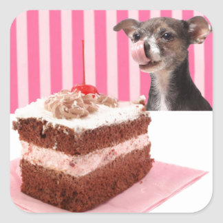 Dog licking his lips looking at cake square sticker