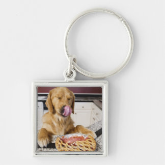 Dog licking nose after eating cherry pie in keychain