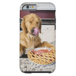 Dog licking nose after eating cherry pie in tough iPhone 6 case