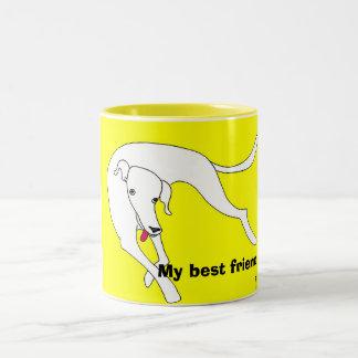 Dog lolling, My best friend Two-Tone Coffee Mug