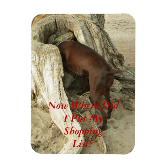 Dog Looking for Shopping List Flat Refrigerator Magnet
