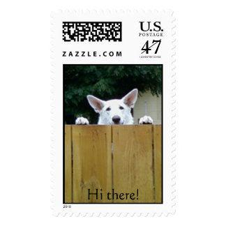 Dog Looking over fence Postage