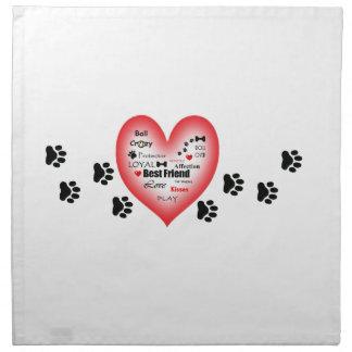 Dog Love Heart with Pawprints Cloth Napkin