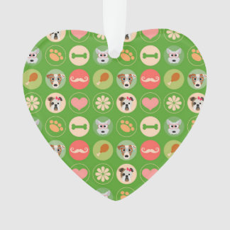 Dog Love on Green Ornament