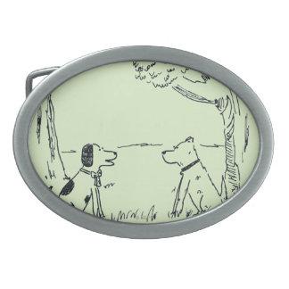 Dog Love Oval Belt Buckles