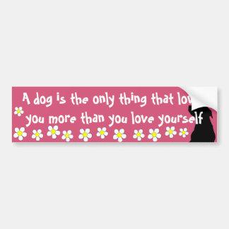Dog Love Quote With Daises Bumper Sticker