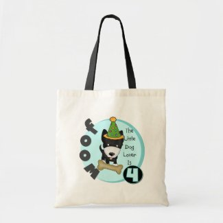Dog Lover 4th Birthday T-shirts and Gifts Canvas Bags