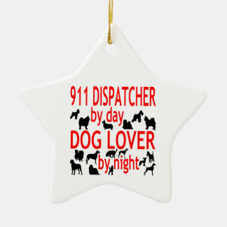 Dog Lover 911 Dispatcher Double-Sided Star Ceramic Christmas Ornament
