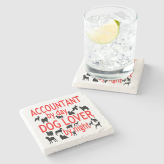 Dog Lover Accountant in Red Stone Coaster