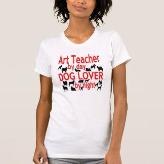 Dog Lover Art Teacher in Red T-Shirt