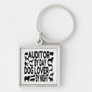 Dog Lover Auditor Silver-Colored Square Keychain