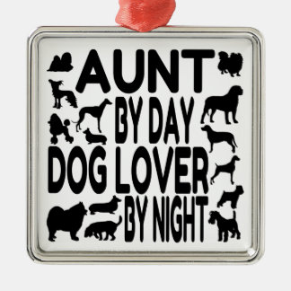 Dog Lover Aunt Square Metal Christmas Ornament