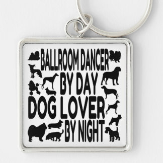 Dog Lover Ballroom Dancer Silver-Colored Square Keychain
