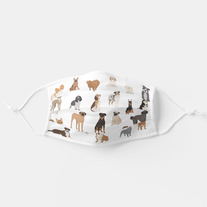 Dog Lover Breeds Print Cute Pattern Animal Cloth Face Mask Zazzle Com