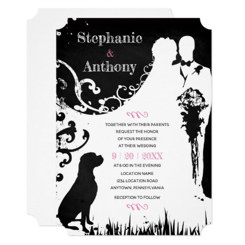 Dog Lover Chalkboard Silhouette Wedding Invitation