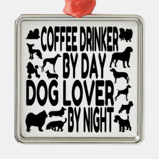 Dog Lover Coffee Drinker Square Metal Christmas Ornament