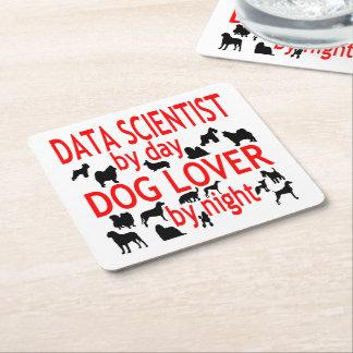 Dog Lover Data Scientist Square Paper Coaster