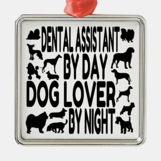 Dog Lover Dental Assistant Square Metal Christmas Ornament